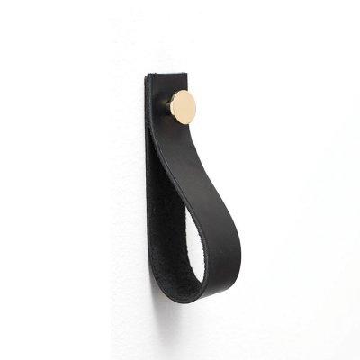 Handdukshängare läder/metall 150 svart-mässing