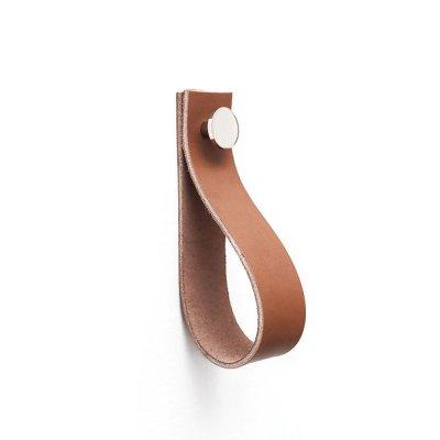 Handdukshängare läder/metall 150 cognac-nickel