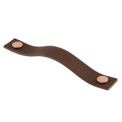 Aviano läderhandtag med söm (<b>Utförande:</b>: Kopparfärgad knopp / Brunt läder)